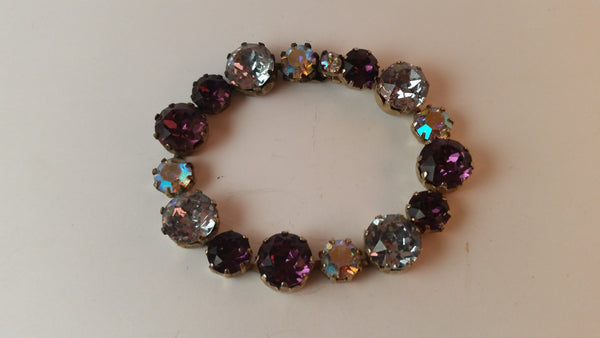 Vintage Gold Tone Purple Aquamarine Clear Rhinestone Bracelet - Treasure Valley Antiques & Collectibles