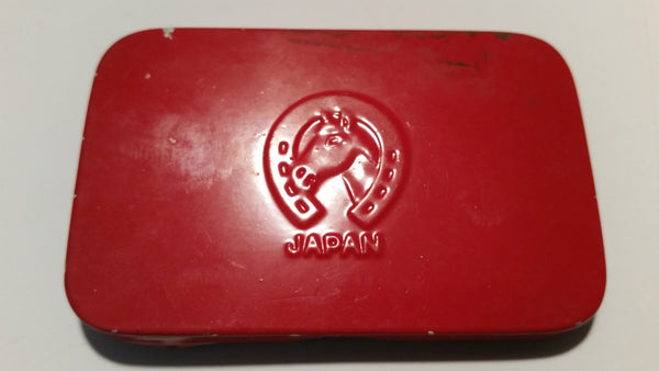 1940-1950s Horseshoe Japan Sesame Seed Tin Red - Treasure Valley Antiques & Collectibles