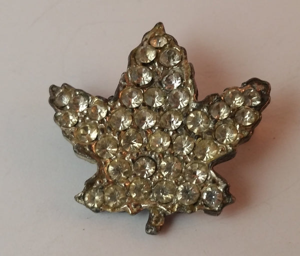Vintage 1980s White Rhinestone Maple Leaf Brooch - Treasure Valley Antiques & Collectibles
