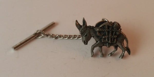 Vintage Signed J. Ritter Donkey Mule Tie Tack Chain Pin - Treasure Valley Antiques & Collectibles