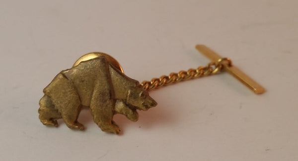 1970s Gold Tone Grizzly Bear Tie Tack Pin - Treasure Valley Antiques & Collectibles