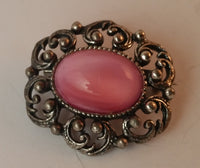 Vintage 1960s Pink Cabochon Brooch Pin Metal - Treasure Valley Antiques & Collectibles