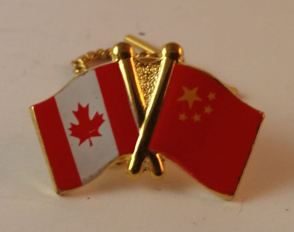 Vintage Civil Aviation Administration of China CAAC Airlines Pilots Tie Pin China Canada Flags - Treasure Valley Antiques & Collectibles