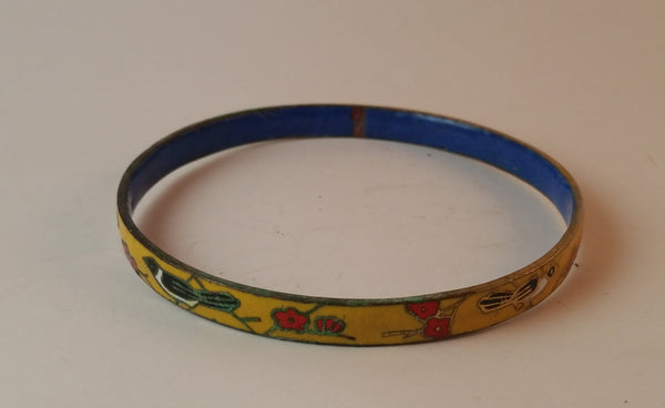 Vintage Enamel Yellow Cloisonné Red Flowers Black Bird Thin Bangle Bracelet Blue Inside - Treasure Valley Antiques & Collectibles