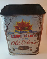 Vintage 1950-1960s Old Colony 136 oz Maple Syrup Tin Great Graphics - Treasure Valley Antiques & Collectibles