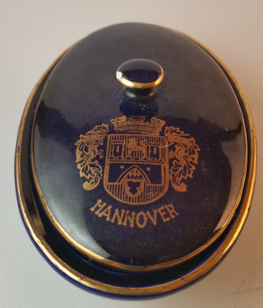 Rare 1940s Hannover KHM Bavaria Cobalt with Gold Trim Jewelry Trinket Vanity Dish