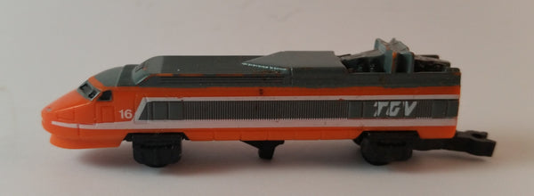 Vintage 1989 Micro Machines Orange 16 TVG High Speed Bullet Train Locomotive Toy - Treasure Valley Antiques & Collectibles