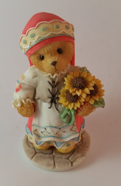 "Cherished Teddies Girl Holding Flowers Figurine Russia ""From Russia, With Love"" - Treasure Valley Antiques & Collectibles"