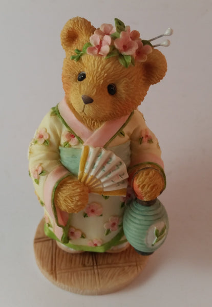 "Cherished Teddies Girl With Fan Figurine Japan ""Love Fans A Beautiful Friendship"" - Treasure Valley Antiques & Collectibles"