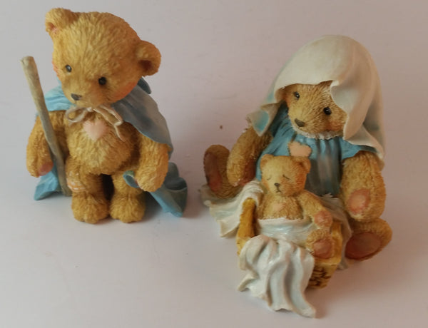 "Cherished Teddies Nativity Figurines Josh, Maria & Baby ""A Baby Is God's Gift of Love"" - Treasure Valley Antiques & Collectibles"