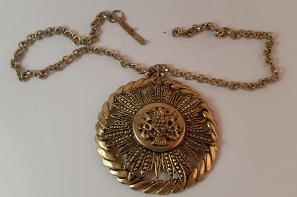 Vintage Royal Coat of Arms Gold Tone Medallion Necklace - Treasure Valley Antiques & Collectibles