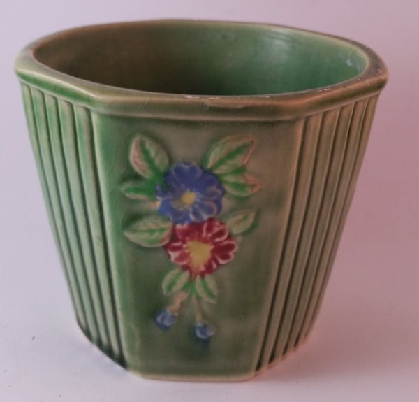 Vintage Japan Floral Green Ceramic Pottery Planter Red Blue Flowers - Treasure Valley Antiques & Collectibles