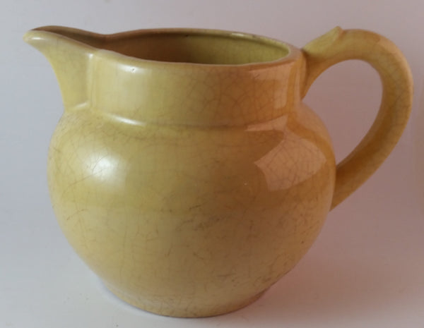 Vintage Yellow Milk Creamer Water Pottery Pitcher Jug - Treasure Valley Antiques & Collectibles