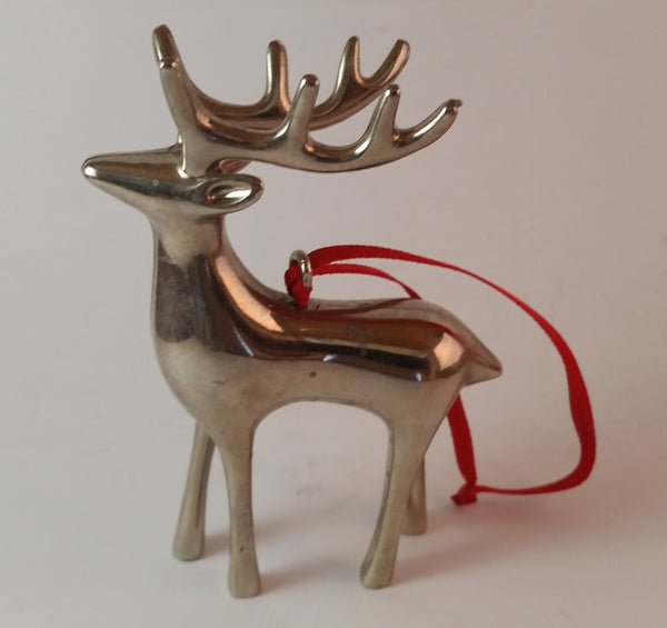 Vintage Silver Plated Pottery Barn Reindeer Ornament with Red Ribbon Hanging - Treasure Valley Antiques & Collectibles