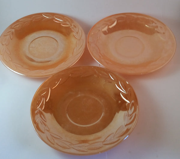 Set of 3 1950s Fire King Laurel Decor Peach Luster Saucer Side Salad Plates - Treasure Valley Antiques & Collectibles