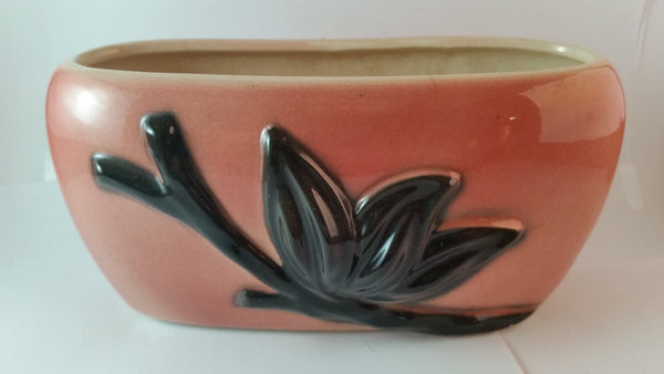 1950s Royal Copley Pink Raised Relief Black Floral Pottery Planter