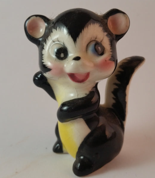 Vintage 1950s Porcelain Happy Skunk Figurine Made In Japan - Treasure Valley Antiques & Collectibles
