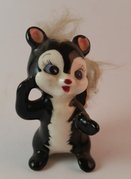 Vintage 1950s Furry Skunk Ceramic Figurine *Has Hair loss* - Treasure Valley Antiques & Collectibles