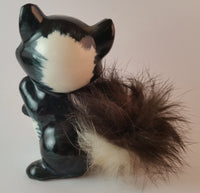 Vintage 1950s Cute Kitschy Furry Porcelain Skunk Figurine Japan - Treasure Valley Antiques & Collectibles