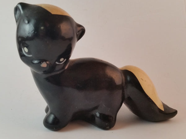 Vintage 1950s Ceramic Skunk Figurine California Pottery - Treasure Valley Antiques & Collectibles