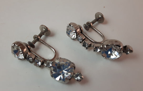 Vintage 1950s Signed Coro Clear Rhinestone Screw Back Earrings - Treasure Valley Antiques & Collectibles