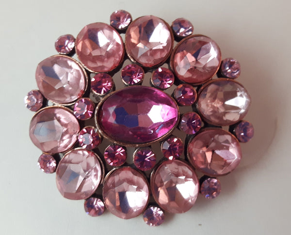 Vintage Pink Rhinestone Brooch Pin - Treasure Valley Antiques & Collectibles