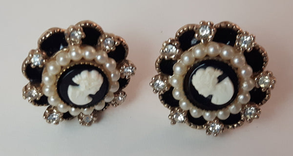 1950s Cameo and Rhinestone Screwback Earrings - Treasure Valley Antiques & Collectibles