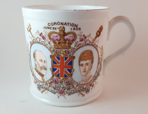 Antique 1902 Harrods England The Foley China Coronation Mug Cup - Treasure Valley Antiques & Collectibles