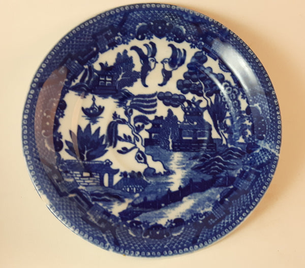 1940s Blue Willow Ware Occupied Japan Saucer Plate Tiny chip on lower left rim - Treasure Valley Antiques & Collectibles