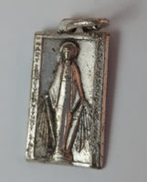 Early 20th Century Saint Catherine Labouré Miraculous Medal Virgin Mary Rectangular Rosary Pendant - Treasure Valley Antiques & Collectibles