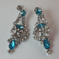 Vintage Aqua Blue and Clear Rhinestone Screw Back Earrings - Treasure Valley Antiques & Collectibles