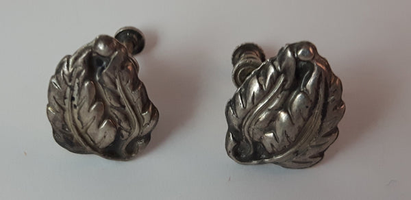 1940s Sterling Silver Leaf Design Screw Back Earrings - Treasure Valley Antiques & Collectibles