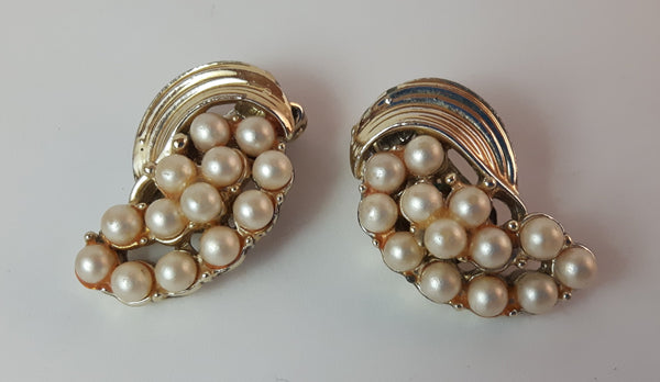Vintage Pearl with Gold Tone Clip On Earrings - Treasure Valley Antiques & Collectibles