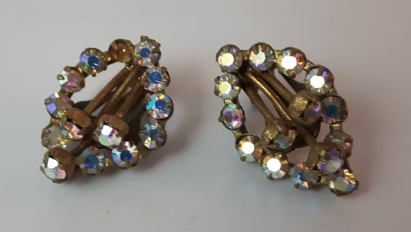 Vintage Aurora Borealis Rhinestone in Gold Tone Clip On Earrings