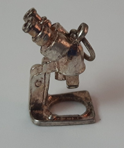 Vintage 1970s Silver Look Microscope Charm Pendant - Treasure Valley Antiques & Collectibles