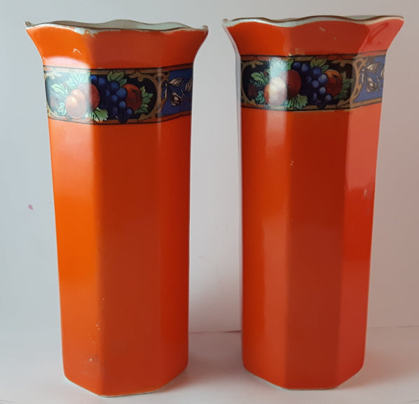 "Set of 2 Rare 1950s Swinnertons ""S Ltd."" Staffordshire England Orange with Fruit Decor Vases"