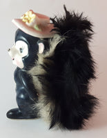 Vintage 1950s Wales Cute Furry Porcelain Pink Flower Hat Skunk Figurine Japan - Treasure Valley Antiques & Collectibles