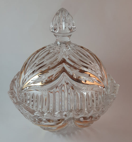 Vintage Princess House Germany 24% Lead Crystal Gold Trim Candy Dish With Lid - Treasure Valley Antiques & Collectibles