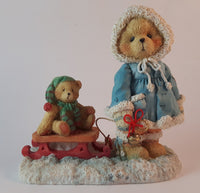 Cherished Teddies Pulling Sled Figurine Mary 1993 #912840 In Box w/ Certificate - Treasure Valley Antiques & Collectibles