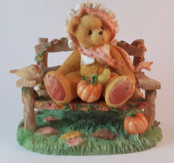 Cherished Teddies Girl On Bench With Pumpkin Figurine Cathy - Treasure Valley Antiques & Collectibles