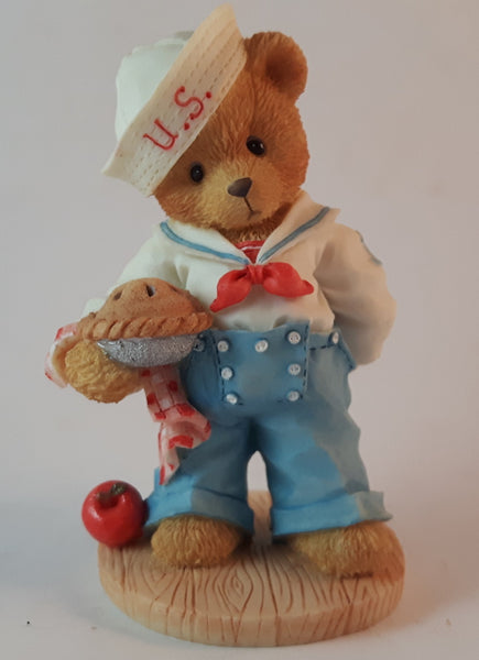 "Cherished Teddies Boy With Apple Pie Figurine U.S.A. ""Our Friendship Is From Sea To Shining Sea"" - Treasure Valley Antiques & Collectibles"