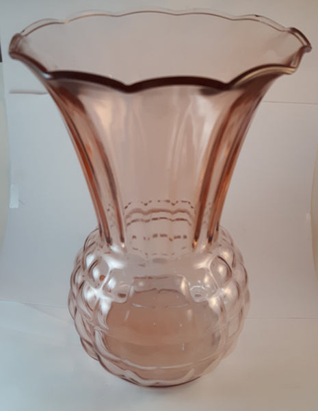 Antique 1930s Anchor Hawking Pink Depression Pineapple Shaped Glass Vase - Treasure Valley Antiques & Collectibles