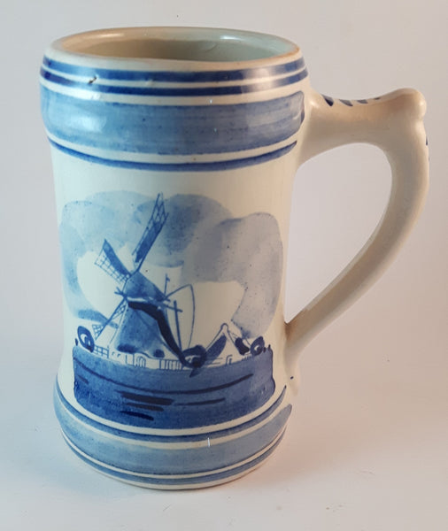 Vintage 1950s Delft Blue and White Mug Hand-Painted Windmill Stein Mug - Treasure Valley Antiques & Collectibles
