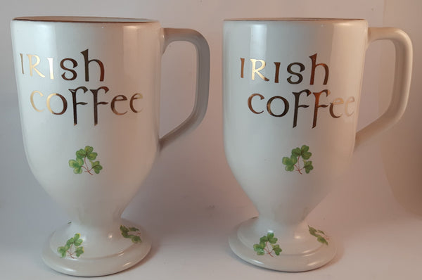Set of 2 1950s White Wade Ireland Porcelain Irish Coffee Mug with Gold Trim and Lettering - Treasure Valley Antiques & Collectibles