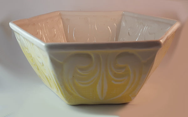 Vintage California Calif. U.S.A. 1306 Yellow and White Hexagon Shaped Pottery Planter - Treasure Valley Antiques & Collectibles