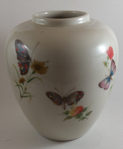 Vintage 1960s Takahashi Hand Decorated DEW Japan Butterflies Flowers Vase - Treasure Valley Antiques & Collectibles