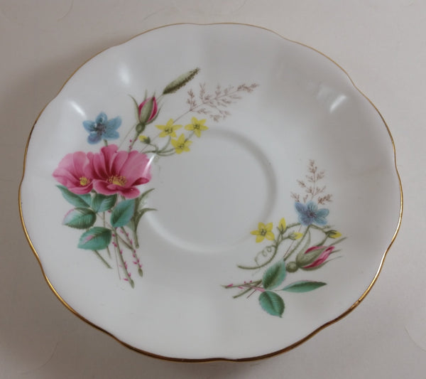 Vintage 1970-1980 Royal Albert Pink Yellow Blue Floral Saucer - Treasure Valley Antiques & Collectibles