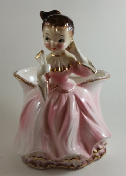 Vintage 1950s Pink Ballerina Planter with Gold Trim Japan - Treasure Valley Antiques & Collectibles