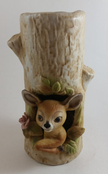 1979 Roth Enesco Taiwan Fawn Baby Deer Tree Trunk Vase