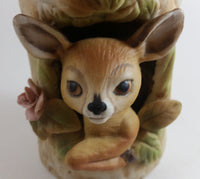 1979 Roth Enesco Taiwan Fawn Baby Deer Tree Trunk Vase - Treasure Valley Antiques & Collectibles